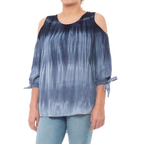 XCVI Hadley Stretch Rayon Voile Blouse - 3/4 Sleeve (For Women) in Myrtle Wash/Navy