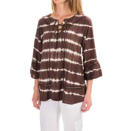XCVI Jessie Peasant Top - Long Sleeve (For Women) in Bali Wash Mahogany - Closeouts