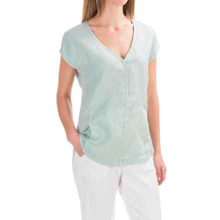 XCVI Kirsten Linen Shirt - Short Sleeve (For Women) in Composed - Closeouts