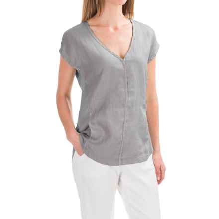 XCVI Kirsten Linen Shirt - Short Sleeve (For Women) in Mysterious Pigment Grey - Closeouts