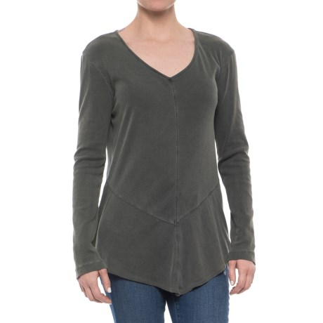 XCVI Tabitha Jersey and Georgette Shirt - Long Sleeve (For Women) in Ivy Pigment