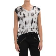XCVI Valerie Tie-Dye Shirt - V-Neck, Short Sleeve (For Women) in Ocean Black-Wash - Closeouts