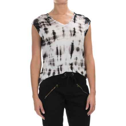 XCVI Valerie Tie-Dye Shirt - V-Neck, Short Sleeve (For Women) in Ocean Black-Wash - Closeouts