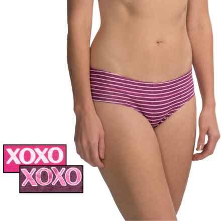 XOXO Gripped Panties - Bikini, 3-Pack (For Women) in Rose Water/Xo Stripe/Cocoa Cherry - Closeouts