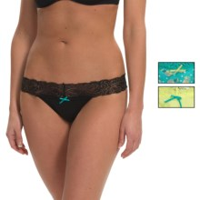 XOXO Lace Panties - Thong, 3-Pack (For Women) in Xo Pineapple Polka Dot Teal Glaze/Darling Daisy/Bl - Closeouts