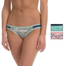 XOXO Print Panties - Bikini, 3-Pack (For Women) in Heather Grey/Xo Edgy Distressed Tribal Chevron/Des - Closeouts