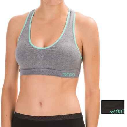 XOXO Seamless Cutout Side Racerback Sports Bra - 2-Pack, Medium Impact (For Women) in Medium Heather Grey/Black - Closeouts