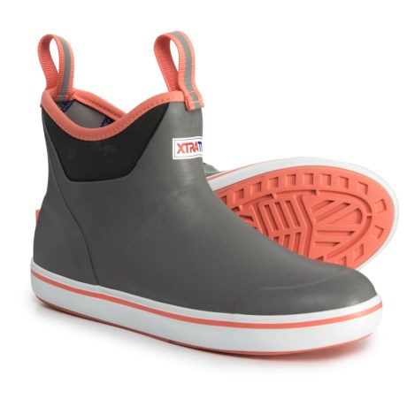 XTRATUF Ankle Deck Rain Boots - Waterproof (For Women) in Grey/Coral
