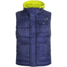 Xtreme Quilted Vest - Attached Hood (For Big Boys) in Navy/Lime - Closeouts