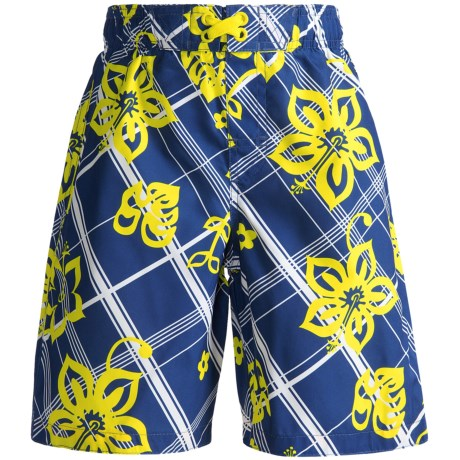 Xtreme Swim Trunks - Inner Brief (For Boys) in Blue Hibiscus