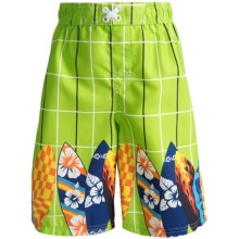Xtreme Swim Trunks - Inner Brief (For Boys) in Lime Surf Boards - 2nds