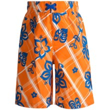 Xtreme Swim Trunks - Inner Brief (For Boys) in Orange Hibiscus - 2nds