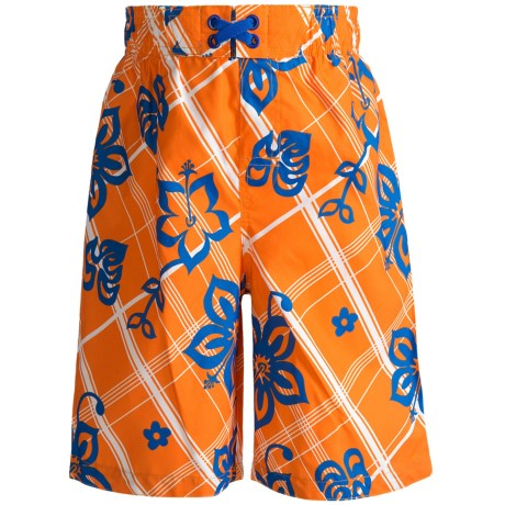 Xtreme Swim Trunks - Inner Brief (For Boys) in Orange Hibiscus