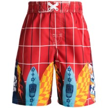 Xtreme Swim Trunks - Inner Brief (For Boys) in Red Surf Boards - 2nds
