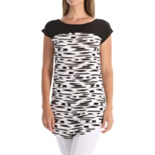Yala Clare Color-Block Tunic Shirt - Boat Neck, Short Sleeve (For Women) in Black Brush - Overstock
