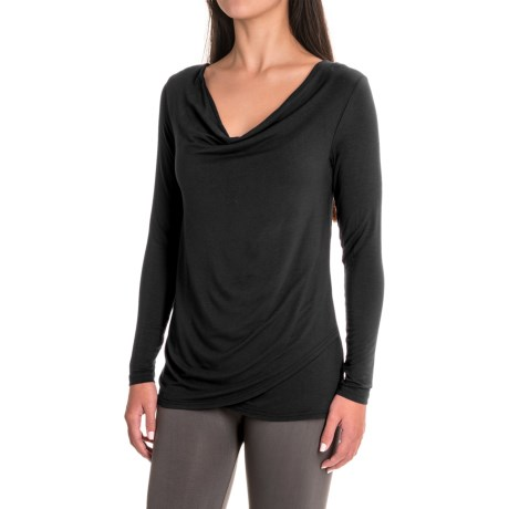 Yala Fiona Shirt - Cowl Neck, Long Sleeve (For Women) in Black