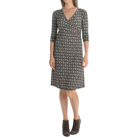 Yala Grace Dress - V-Neck, 3/4 Sleeve (For Women) in Black Tika - Closeouts