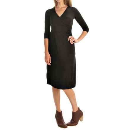 Yala Grace Dress - V-Neck, 3/4 Sleeve (For Women) in Black - Closeouts