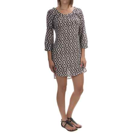 Yala Gwen Organic Cotton Dress - 3/4 Sleeve (For Women) in Black Aztec - Overstock