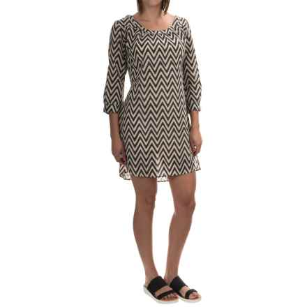 Yala Gwen Organic Cotton Dress - 3/4 Sleeve (For Women) in Sand Chevron - Overstock