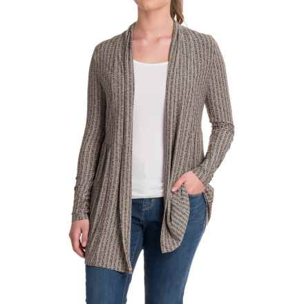 Yala Karina Open-Front Cardigan Shirt - Long Sleeve (For Women) in Black Staccato - Closeouts