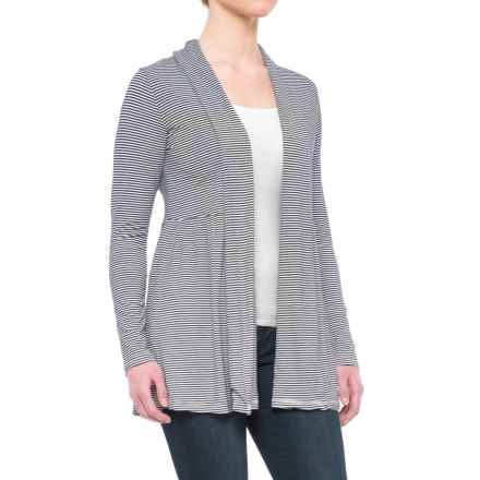 Yala Karina Open-Front Cardigan Shirt - Long Sleeve (For Women) in Navy Micro - Closeouts
