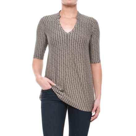 Yala Mandarin Collar Shirt - Elbow Sleeve (For Women) in Black Staccato - Closeouts
