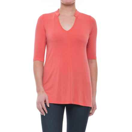 Yala Mandarin Collar Shirt - Elbow Sleeve (For Women) in Coral - Closeouts