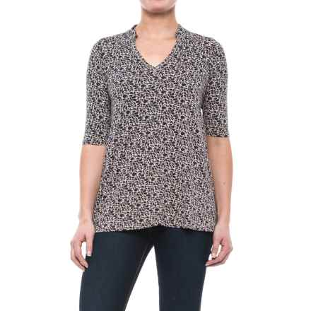 Yala Mandarin Collar Shirt - Elbow Sleeve (For Women) in Night Shade Rhapsody - Closeouts