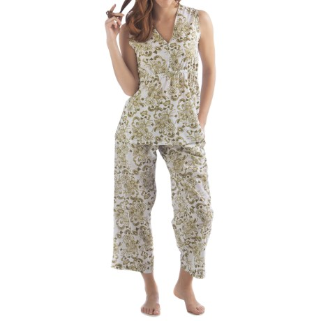Yala Organic Cotton Alina Pajamas - Sleeveless (For Women) in Fern