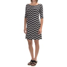Yala Renee Dress - Scoop Neck, Elbow Sleeve (For Women) in Black Natural Chevron - Overstock