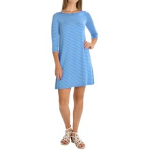 Yala Rita Striped Dress - 3/4 Sleeve (For Women) in Bay Blue Natural - Overstock