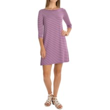 Yala Rita Striped Dress - 3/4 Sleeve (For Women) in Orchid Natural - Overstock