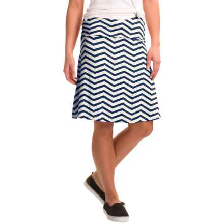 Yala Staci Skirt - Stretch Viscose (For Women) in Navy Chevron - Closeouts