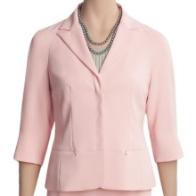 Yansi Fugel Microfiber Peplum Jacket - Stretch Crepe, 3/4 Sleeve (For Women) in Quartz - Closeouts