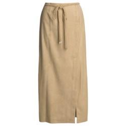 Yansi Fugel Moleskin Faux-Wrap Skirt - Braided Belt (For Women) in Beige