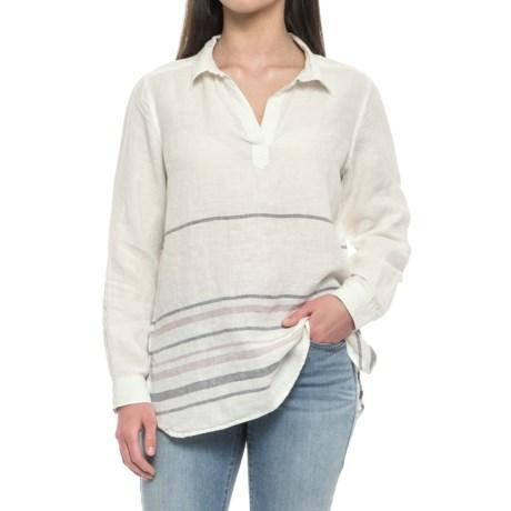 Yarn-Dyed Border Stripe Popover Shirt - Linen, Long Sleeve (For Women)