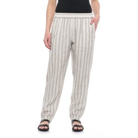 Yarn-Dyed Stripe Pull-On Linen Pants - Tapered Leg (For Women)