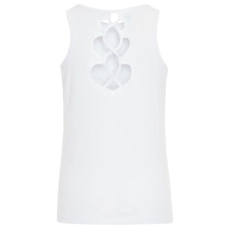 Yogalicious Back Lace Tank Top (For Big Girls) in White