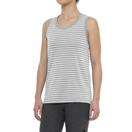 Yogalicious Cowl Back Shirt - Sleeveless (For Women) in Heather Grey/White Stripe