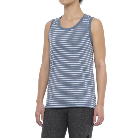 Yogalicious Cowl Back Shirt - Sleeveless (For Women) in Heather Rainfall/White Stripe