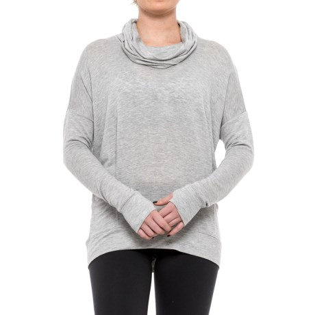 Yogalicious Cowl Neck Shirt - Long Sleeve (For Women) in Heather Grey