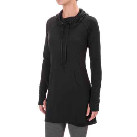 Yogalicious Cowl Neck Tunic Hoodie (For Women) in Black - Closeouts