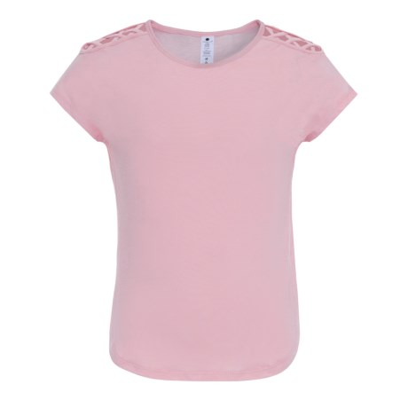 Yogalicious Crisscross Cold-Shoulder Shirt - Short Sleeve (For Big Girls) in Parfait Pink