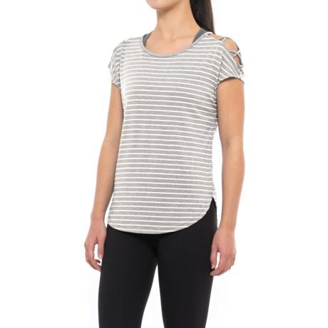 Yogalicious Crisscross Shirt - Short Sleeve (For Women) in Heather Grey/White Stripe