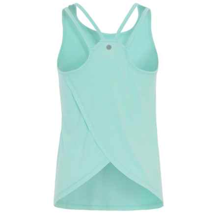 Yogalicious Cross-Back Tank Top (For Big Girls) in Heather Aqua Blue - Closeouts
