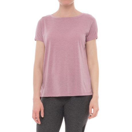 Yogalicious Dolman Sleeve Shirt - Short Sleeve (For Women) in Heather Mauve