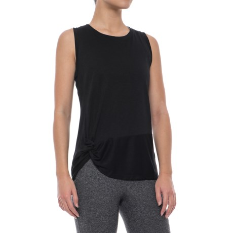 Yogalicious Front Knot Tank Top (For Women) in Black