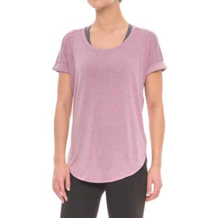 Yogalicious High-Low Dolman Shirt - Short Sleeve (For Women) in Heather Mauve - Closeouts