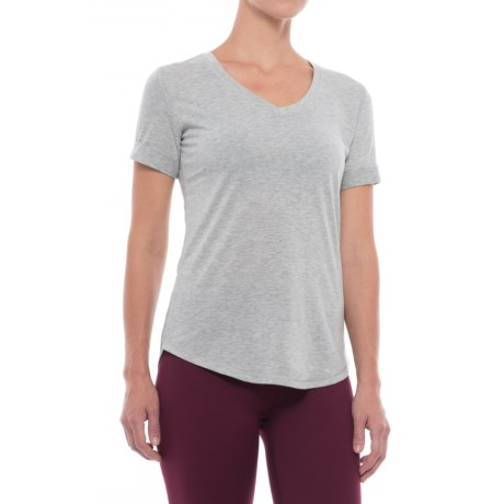 Yogalicious Jersey-Knit T-Shirt - V-Neck, Short Sleeve (For Women) in Heather Grey